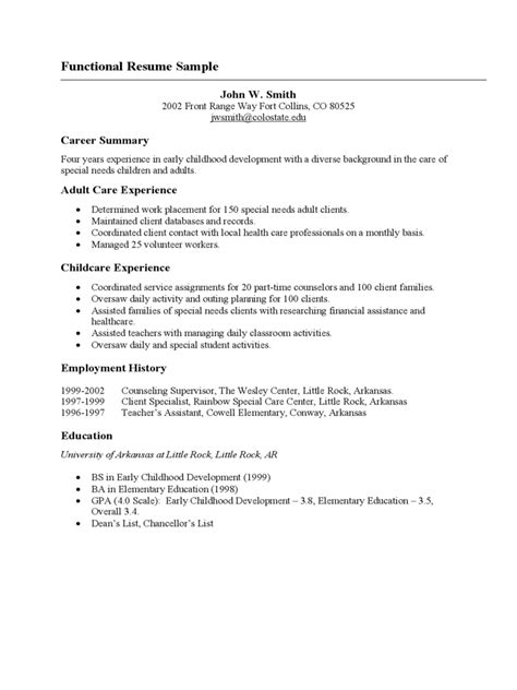 resume template sles of functional resumes