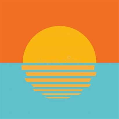 Sunset Icon Ocean Icono Atardecer Hermoso Oceano