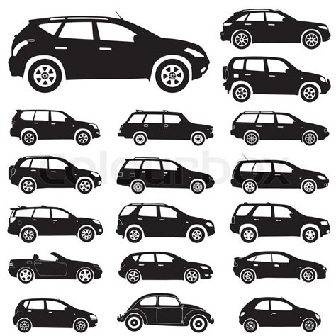 Large Collection Of Silhouettes Of Cars, Element For
