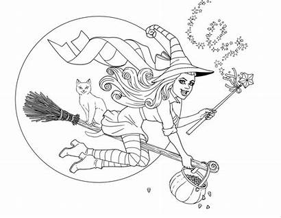 Coloring Halloween Witch Flying Cat Redesign Redo