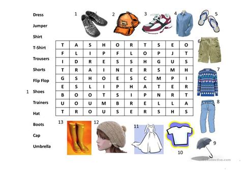clothes wordsearch worksheet free esl projectable