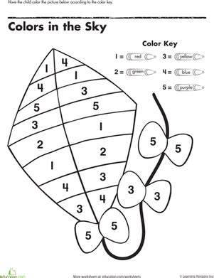preschool color by number worksheets coloring pages color by number kite worksheet
