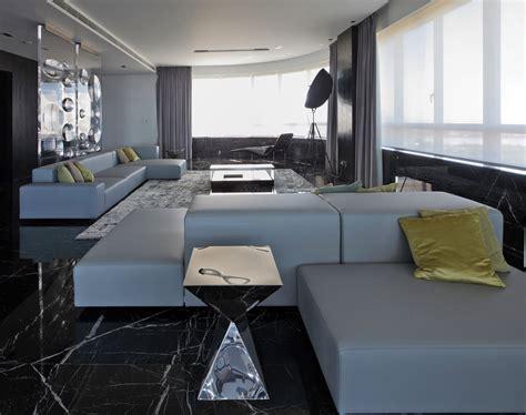 Grey Sofas, Dark Marble Floor Tiles, Modern Apartment in