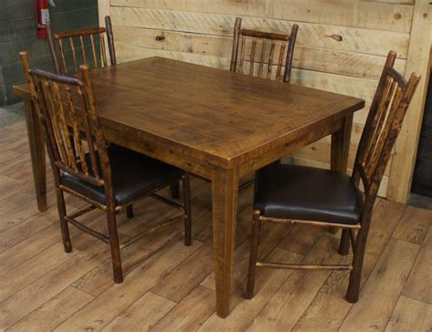 reclaimed dining room table hickory chairs rustic