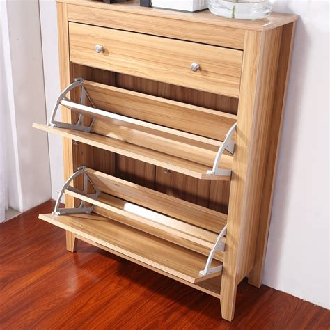 Shoe Cabinet Wood by Homcom Wooden Shoe Cabinet Rack 12 Pairs Holder Oak