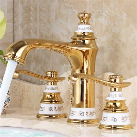 Luxury Polished Brass Two Handles 3 Hole Bathroom Faucet