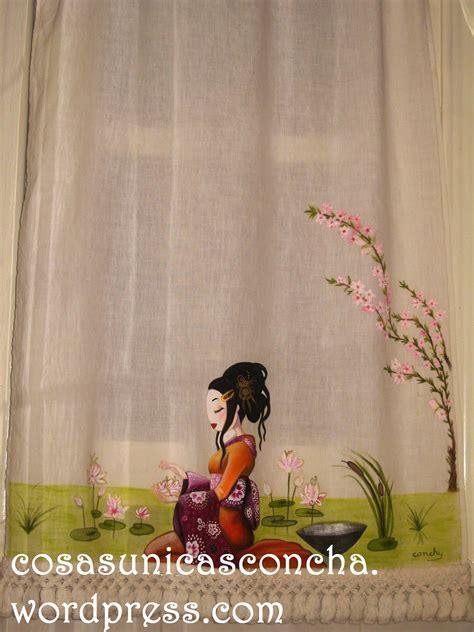 cortinas pintadas cortina de lino y pintada a mano los flecos son de
