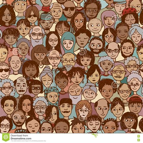Diverse Background Doodle Seamless Pattern Of A Diverse Faces