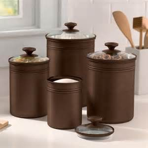 Rooster Kitchen Canister Sets Better Homes And Gardens Bronze Finished Metal Canisters With Glass Lids Set Of 4 Kitchen Di