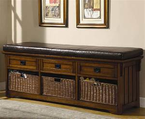 benches, large, storage, bench, with, baskets
