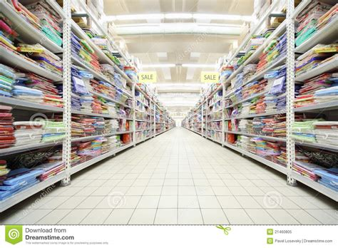 Inside Shop Of Bed Linen And Textiles Stock Image Image