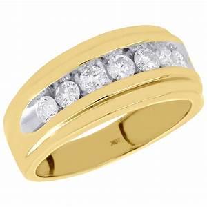 10k yellow gold channel set diamond mens wedding band for Mens diamond wedding rings yellow gold