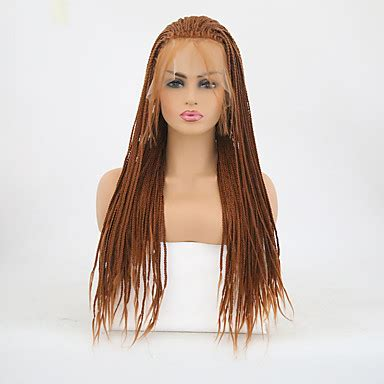 Synthetic Lace Front Wig Women's Matte Brown Braid ...
