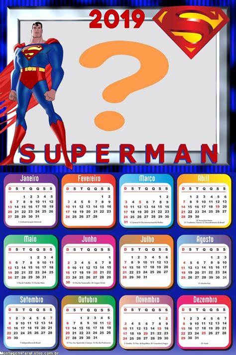 calendario superman desenho montagem fotos