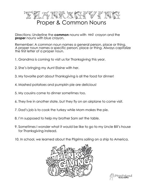 thanksgiving proper common nouns holidays proper