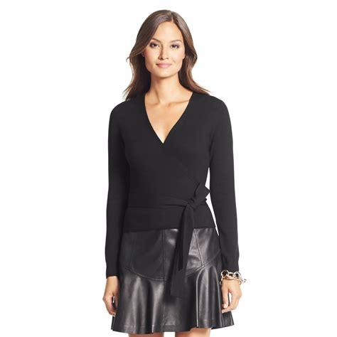 wrap sweater cardigan diane furstenberg ballerina wool wrap sweater in black