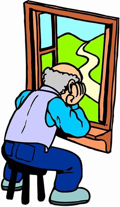 Clipart Lonely Senior Isolation Social Depression Clip