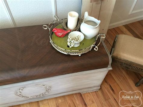 hometalk lane cedar chest  raised bondo stencil