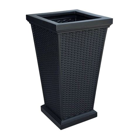 black plastic planters bloem 28 in black plastic planter mp2428 00 the