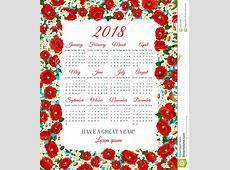 Vector Calendar 2018 Of Spring Flowers Frame Stock Vector