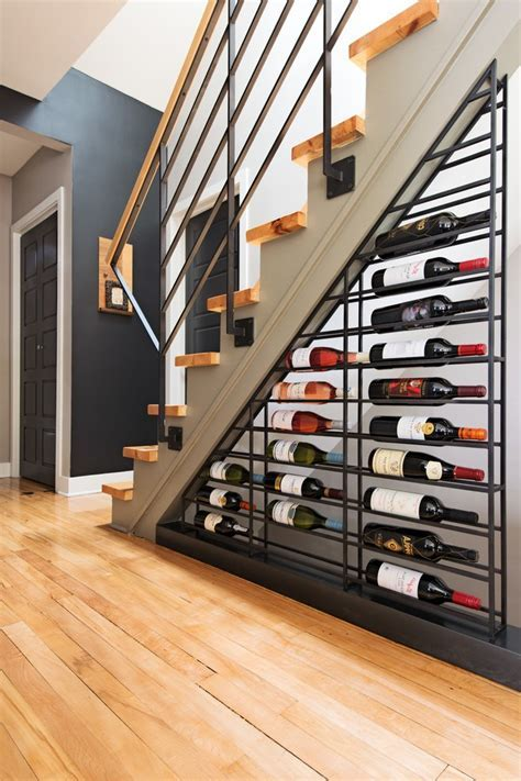 Contemporary Wine Racks with Nook Wood Accent Wall Storage