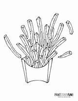 Coloring French Fries Printcolorfun Printable sketch template