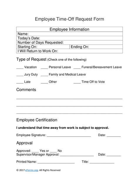 22297 request for time form employee time request form eforms free fillable forms