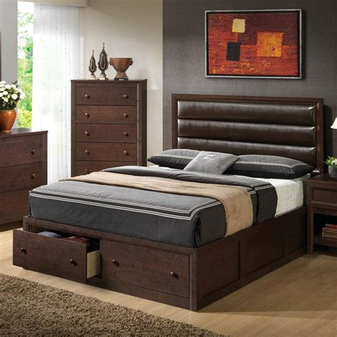 leather  pillow  king platform storage bed bedroom