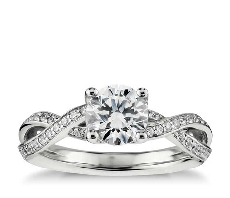 twist pav 233 diamond engagement ring in 14k white gold 1 4 ct tw blue nile