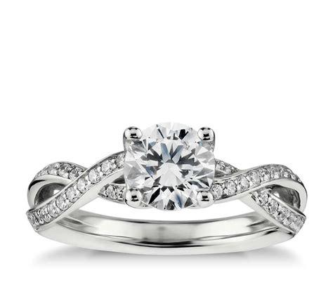 Twist Pavé Diamond Engagement Ring In 14k White Gold (14