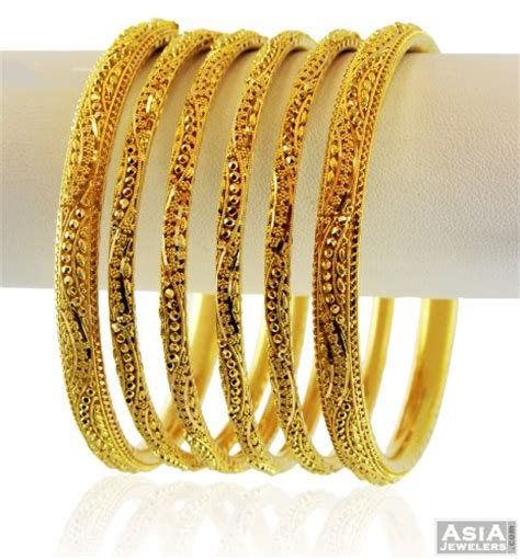 22k yellow gold bangle set 6 pc ajba58318 beautifully designed 22k gold bangle set of 6