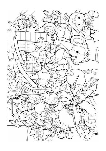 Sylvanian Coloring Families Calico Critters Pages Sheets