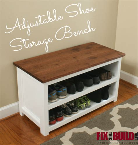 diy adjustable shoe storage bench fixthisbuildthat