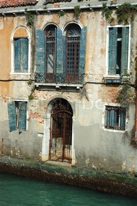 beautiful venice house   water italy stock