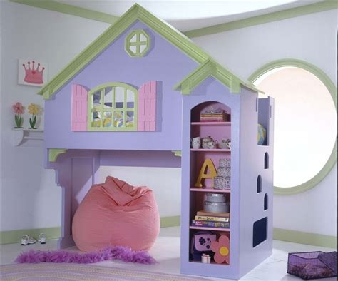Doll House Painted Loft Bed For Little Girls