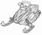 Snowmobile Polaris Coloring Template Sketch sketch template