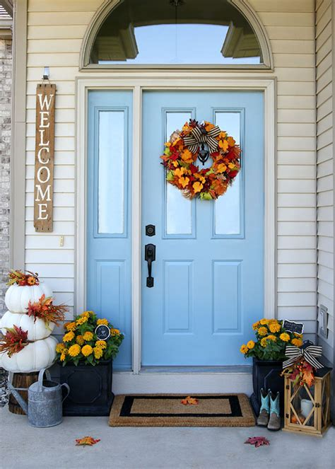 front door decorations cheery fall front door decorations the home depot