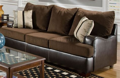 leather and fabric loveseat brown fabric sofa loveseat set w bonded leather base