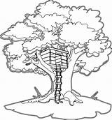 Coloring Tree Pages Treehouse Printable Getcolorings Magic sketch template