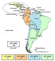 Central America Time Zone Map