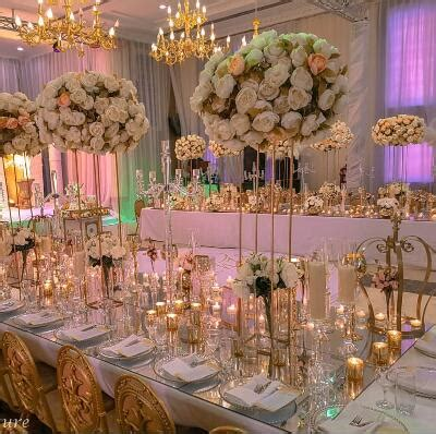 gold metal wedding pillar aisle road leads flower stand wedding decoration table centerpiece in