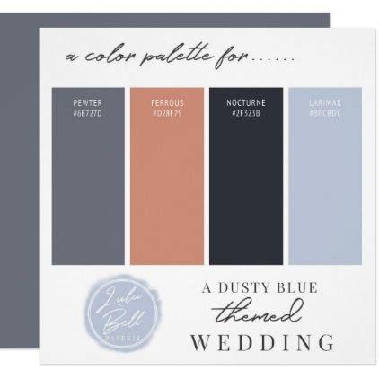 Dusty Blue Rose Gold & Navy Color Palette Card Zazzle