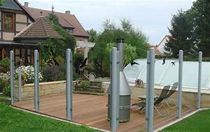 Sichtschutz aus glas mit kunststoffpfosten for Glas sichtschutz terrasse