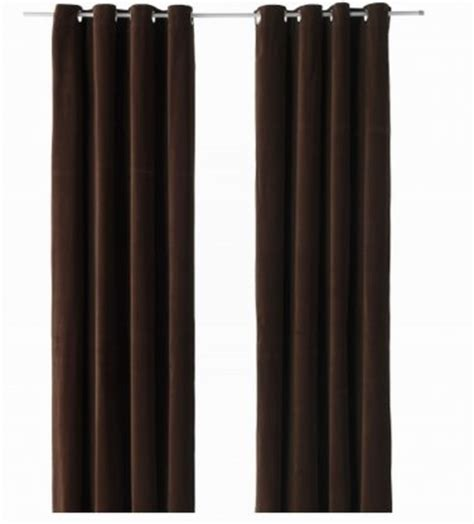 ikea sanela curtains drapes 2 panels dark brown velvet 118
