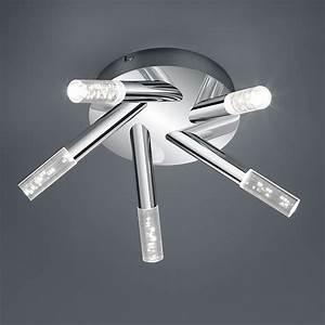 Deckenleuchte Bad Led : led deckenleuchte in chrom mit 5 lichtelementen mit glas in kristalloptik ~ Markanthonyermac.com Haus und Dekorationen