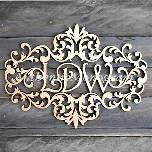 custom three letter wooden monogram in victorian With 3 wooden letters