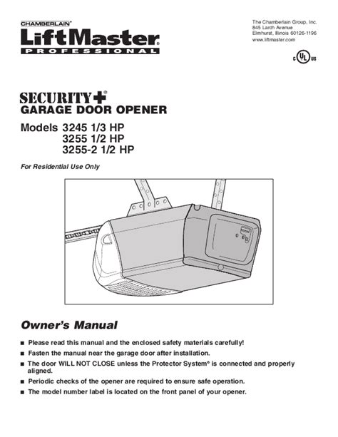 liftmaster garage door opener manual chamberlain garage door opener 3245 1 3 hp user s guide