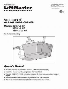 Chamberlain Garage Door Opener 3245 1  3 Hp User U0026 39 S Guide