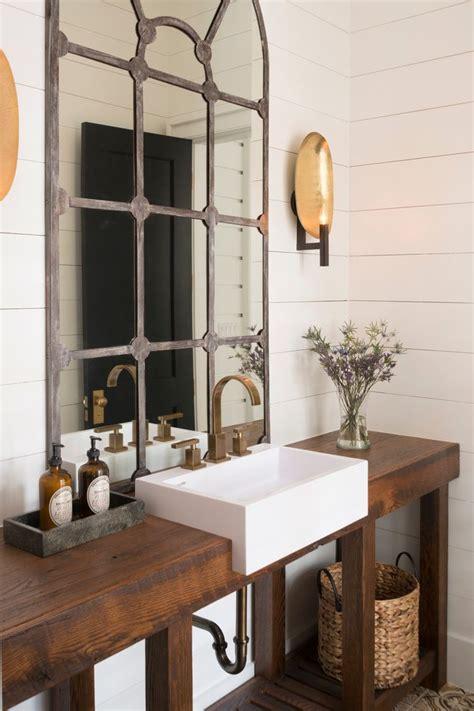 champagne bath powder room transitional  rustic vanity