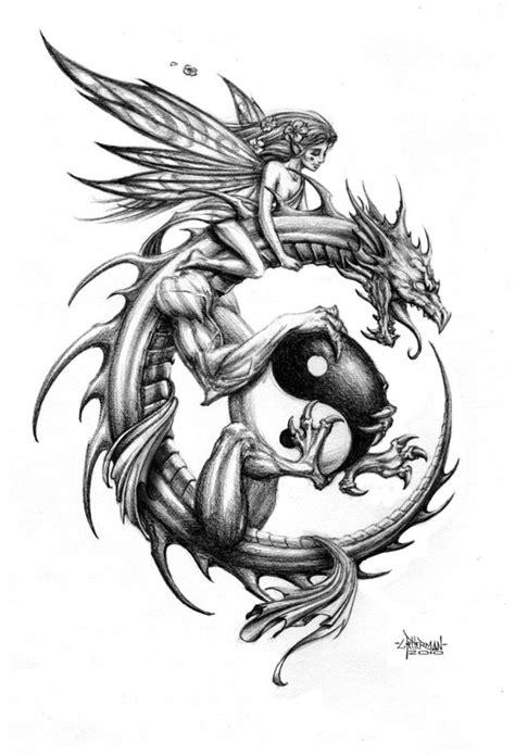 Tender fairy riding a dragon keeping a big yin yang symbol